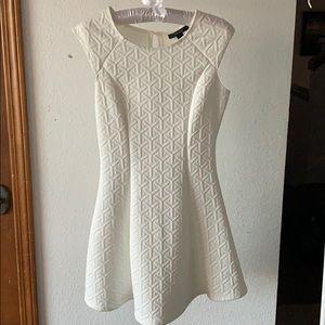 White Geometric Sleeveless Dress